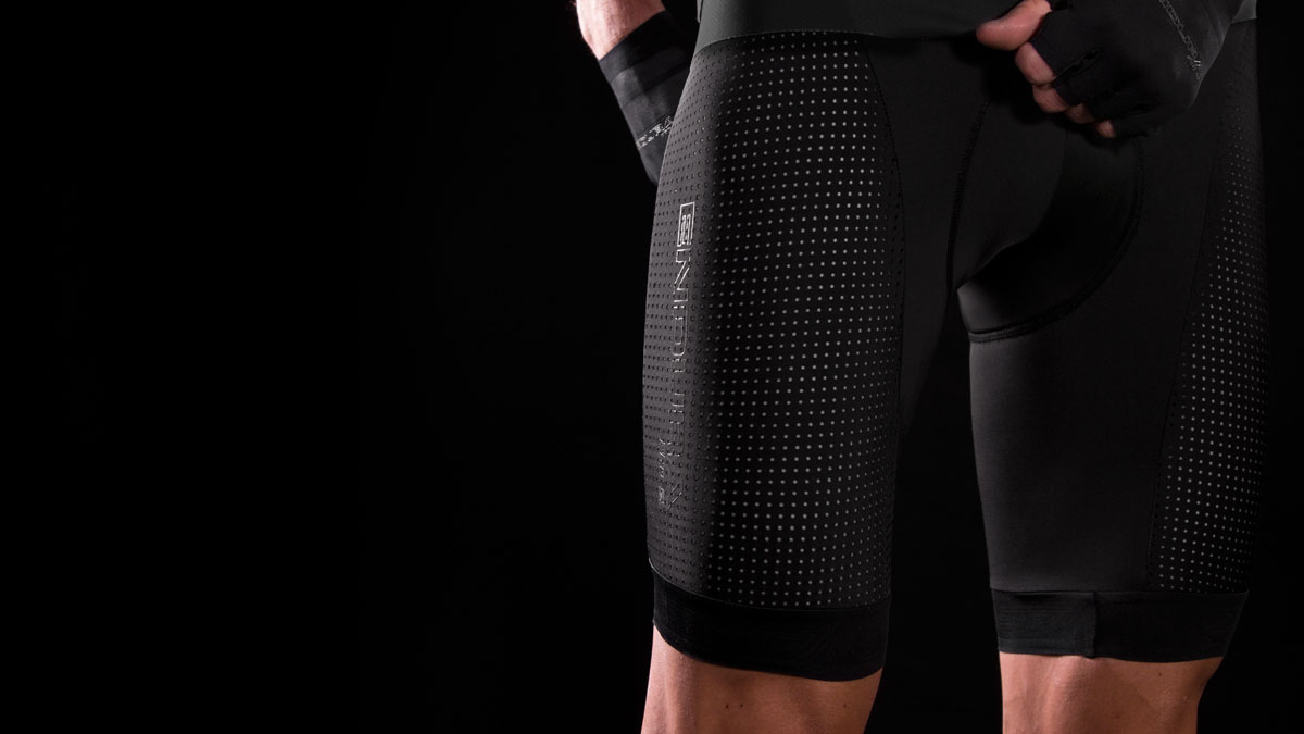 Strategically positioned perforated Lycra® panels for improved breathability