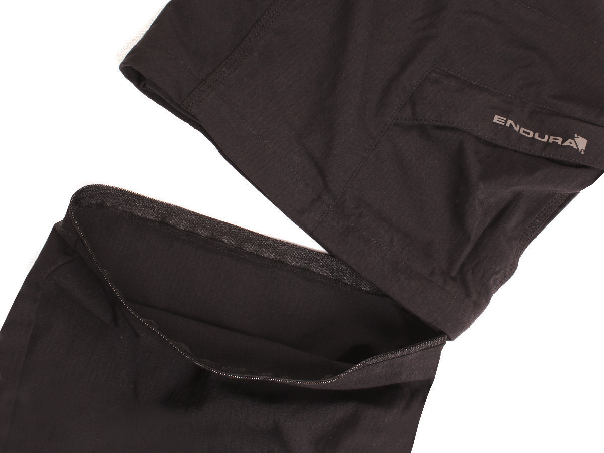 Discreet zips above knee converts trousers into shorts