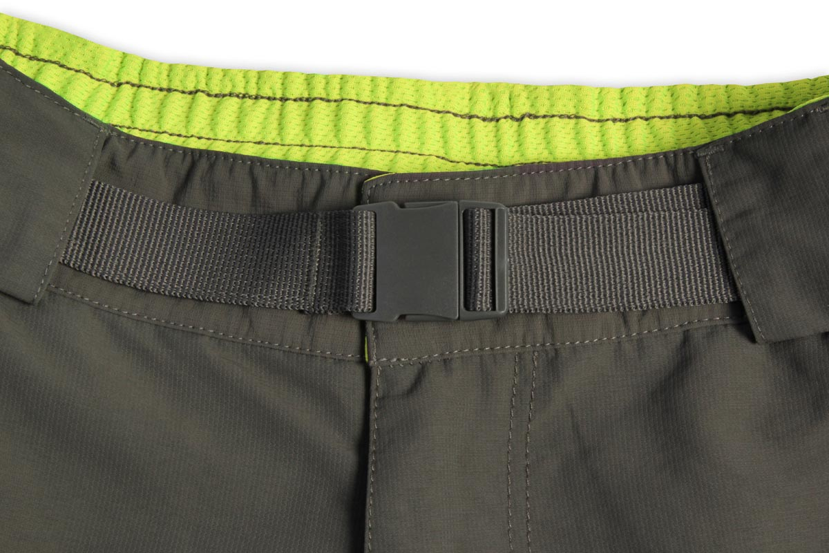 Rear elasticated waistband and adjustable belt