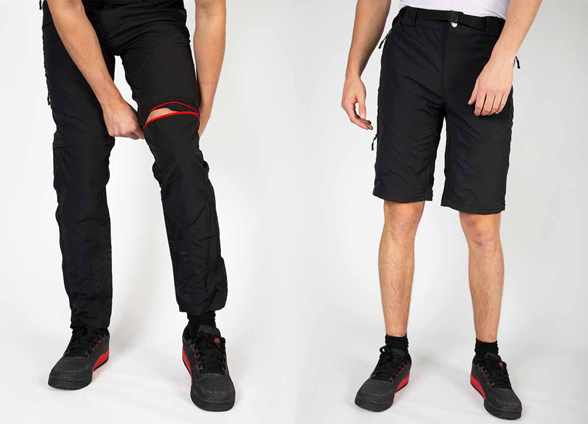 Zip off lower leg converts pants to shorts