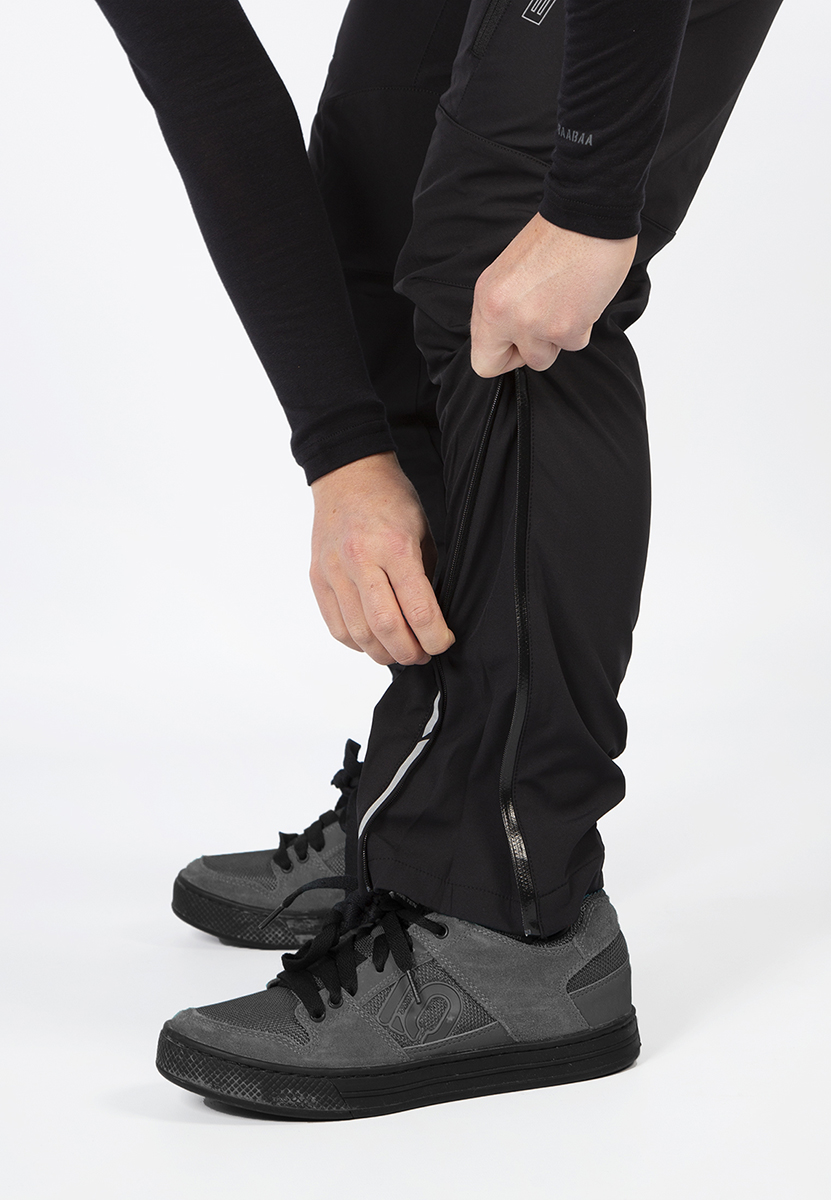 Durable inner panels and outer ankle zip with gusset